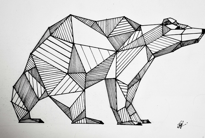 will draw a pattern super art for  5 in IllustrationGeometric Bear Drawing