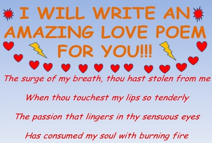 creative writing love poems In part 1 of the course poetry: foundation for creative writing, justin hibbard focuses on the power of words and how techniques like alliteration, assonance.