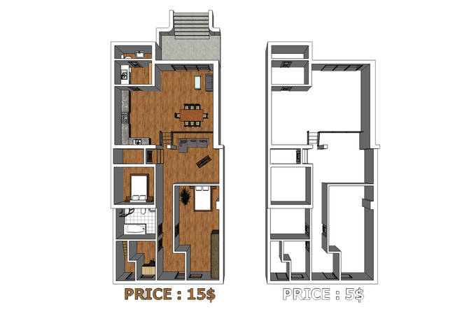 Model your floorplan into 3d by sketchup fastest fiverr for Turn floor plan into 3d model