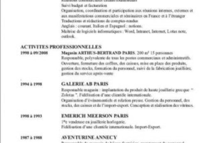 cv cover letter in french